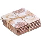 Mandala onderzetters roze set van 6