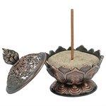 Wierookbrander Lotus met 8 Tibetaanse voorspoedsymbolen koperkleur