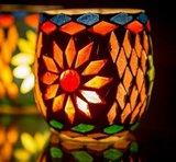 waxinehouders set van 2 mozaiek multi