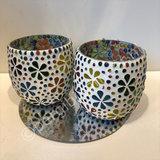 waxinehouder set van 2 multi flower bol mozaiek