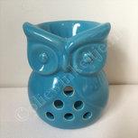 Waxmeltbrander keramiek uil blauw