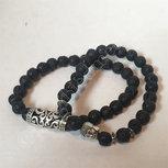 Armband lavasteen set van 2 met boeddhakraal en sierkraal elastisch