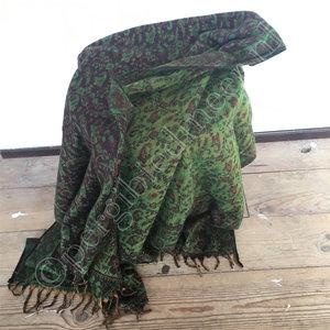 Yogastyles meditatie omslagdoek bewerkt groen/bruin