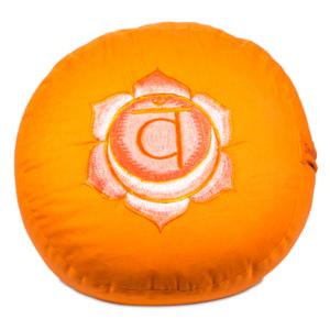 2de Chakra meditatiekussen oranje Heiligbeen/Swadhishthana geborduurd 33x15cm
