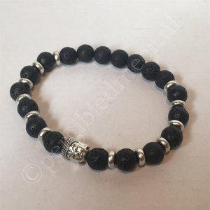 Armband lavasteen met boeddha bedel elastisch