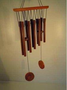Windgong houtlook met 10 buizen 60x20 cm.