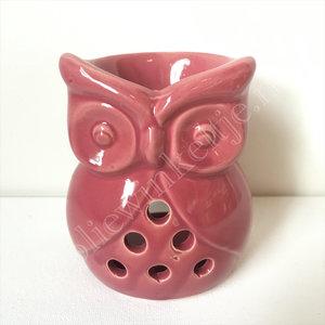 Waxmeltbrander keramiek uil roze