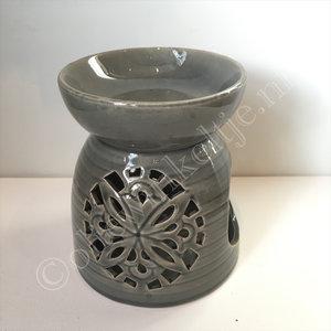 Olieverdamper keramiek grijs ca 14cm