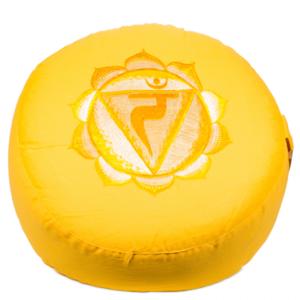 3de Chakra meditatiekussen geel Zonnevlecht/Manipura geborduurd 33x15cm