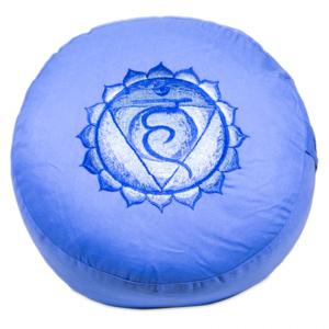 5de Chakra meditatiekussen blauw Keel/Vishuddha geborduurd 33x15cm