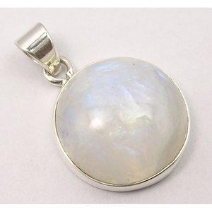 Hanger Maansteen edelsteen rond zilver
