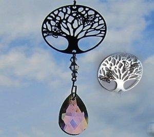 Kristal streng met filigraan Tree of Life en vlinders