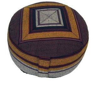 Meditatiekussen bewerkt grijs/geel 33x17cm