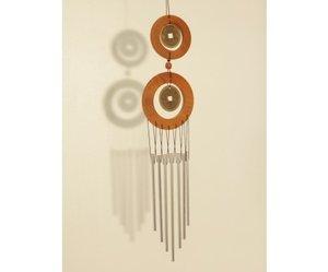 Windgong 7 zilveren pijpen met 2 ringen en 2 munten. 59cm