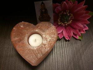Zoutkristal waxinehouder hartvorm