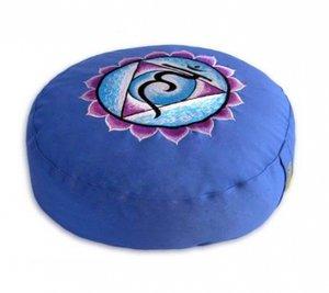 Meditatiekussen Chakra 5 Vishuddha blauw 33x15cm