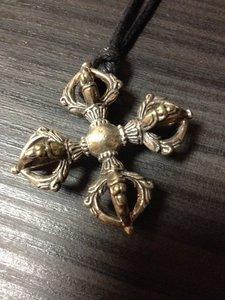 Dubbele Dorje hanger zilverkleur brons 4cm