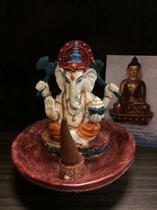Ganesha zittend wierookhouder kleur