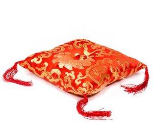 klankschaalkussen rood 'bloem' 14x14x4cm.