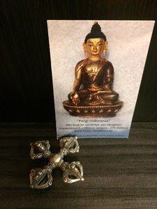 Dubbele Dorje klein brons verzilverd