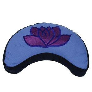 Meditatiekussen lotus halve maan violet/blauw