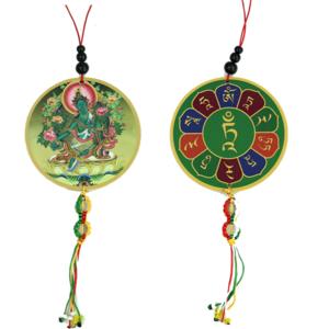 Beschermhanger Groene Tara & Dorje