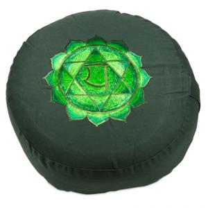 4de Chakra meditatiekussen groen Hart/Anahata geborduurd 33x15cm