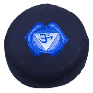 6de Chakra meditatiekussen indigo Derde oog/Ajna geborduurd 33x15cm