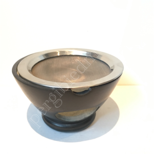 Wierookbrander Maroque zeepsteen zwart inclusief zeef  7x13 cm