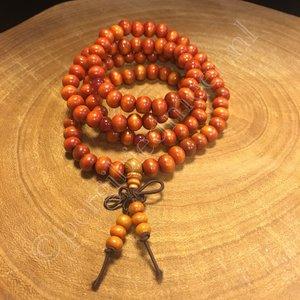 Mala 108 kralen hout oranje 7 mm