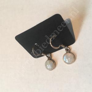 Zilveren oorbellen Maansteen edelsteen eenvoudig