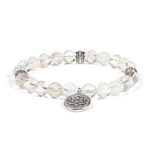 Mala armband bergkristal met lotus bedel elastisch