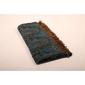 Yogastyles meditatie omslagdoek bewerkt blauw bruin