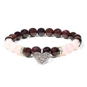 armband rozenkwarts en granaat met hart bedel
