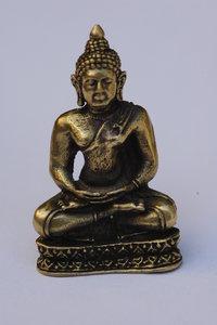 Boeddha meditatie brons zilverkleur 3cm