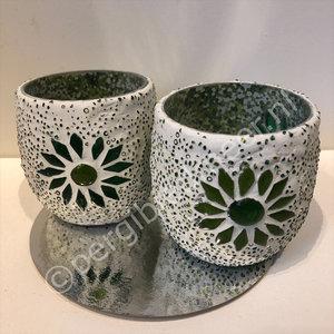 waxinehouder set 2 groen kralen en mozaiek