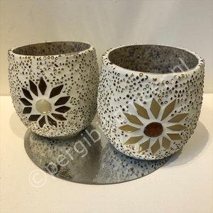 waxinehouder set van 2 beige kralen en mozaiek