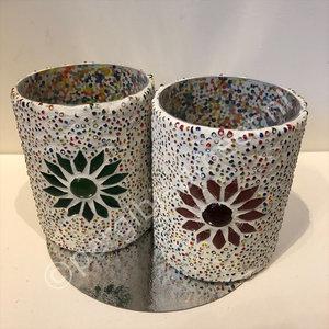 waxinehouder set van 2 multi kralen en mozaiek
