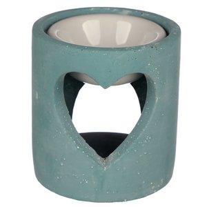 oliebrander betonlook hartvorm blauw