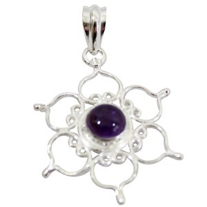amethist hanger lotus zilver