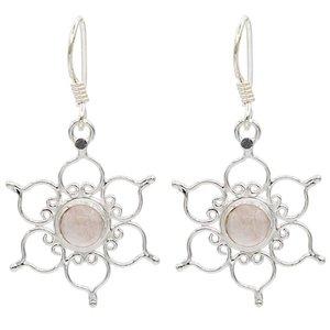 rozenkwarts oorbellen lotusbloem zilver