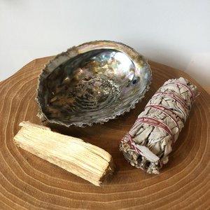 reinigingsset witte salie palo santo abelone schelp