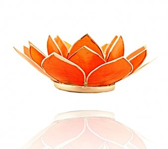 Waxinelichthouder 'Chakra' 2 oranje